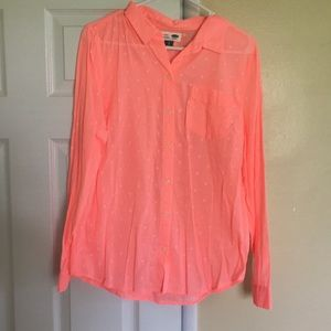 Peach button down